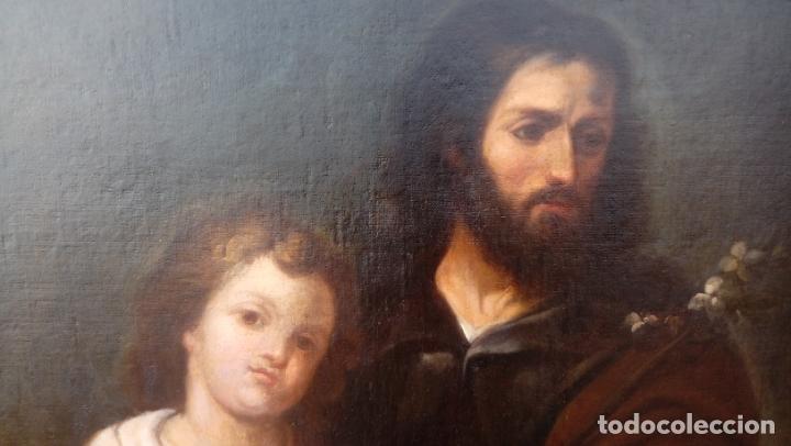 Arte: ÓLEO S/LIENZO -SAN JOSÉ CON EL NIÑO-. ESC BARROCA SEVILLANA S. XVII, CÍRCULO MURILLO. 135.5X96 CMS - Foto 3 - 177316400
