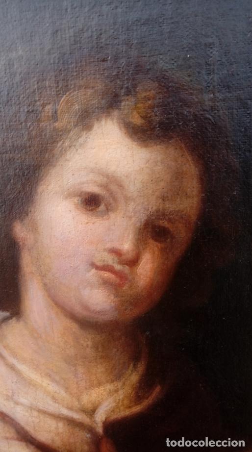 Arte: ÓLEO S/LIENZO -SAN JOSÉ CON EL NIÑO-. ESC BARROCA SEVILLANA S. XVII, CÍRCULO MURILLO. 135.5X96 CMS - Foto 4 - 177316400