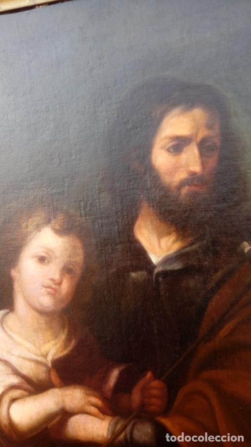 Arte: ÓLEO S/LIENZO -SAN JOSÉ CON EL NIÑO-. ESC BARROCA SEVILLANA S. XVII, CÍRCULO MURILLO. 135.5X96 CMS - Foto 6 - 177316400