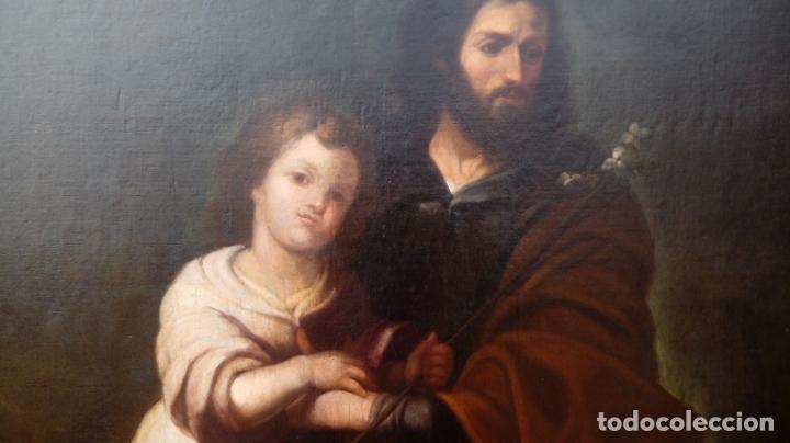 Arte: ÓLEO S/LIENZO -SAN JOSÉ CON EL NIÑO-. ESC BARROCA SEVILLANA S. XVII, CÍRCULO MURILLO. 135.5X96 CMS - Foto 8 - 177316400