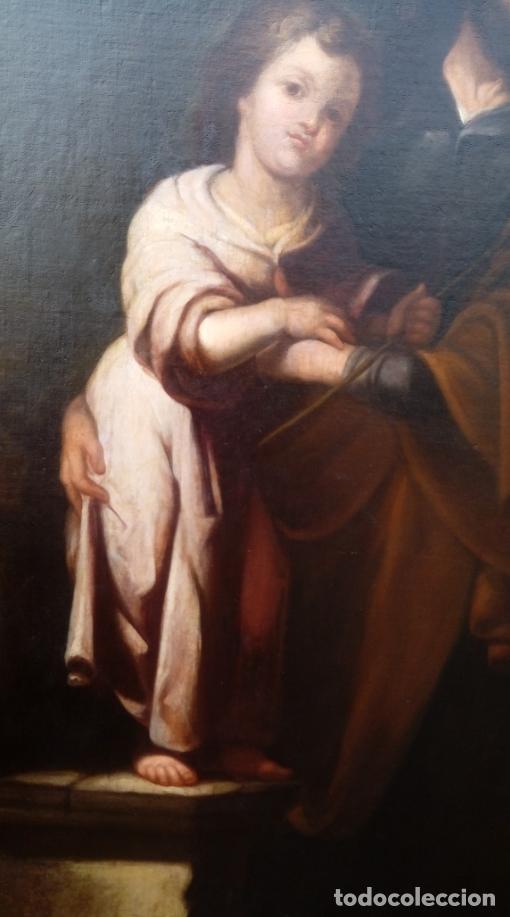 Arte: ÓLEO S/LIENZO -SAN JOSÉ CON EL NIÑO-. ESC BARROCA SEVILLANA S. XVII, CÍRCULO MURILLO. 135.5X96 CMS - Foto 9 - 177316400
