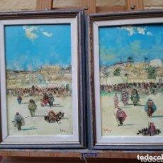 Arte: 2 CUADROS ORIENTALISTAS PINTADOS A ÓLEO SOBRE CARTÓN FIRMADOS AYLLON 98. Lote 177321600