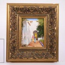 Arte: PINTURA AL ÓLEO SOBRE MADERA / TÁBLEX - FIRMADO F. DELGADO / FERNANDO ? - MEDIDAS 18,5 X 20,5 CM. Lote 177381330