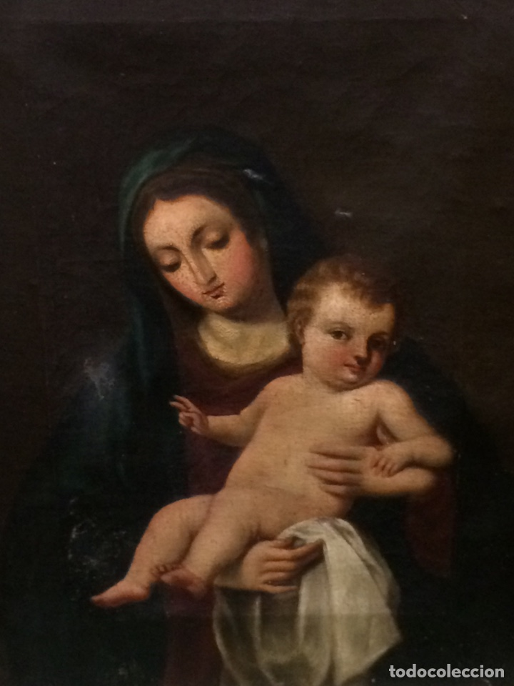 Arte: Virgen con niño Oleo sobre lienzo - Foto 2 - 177385529