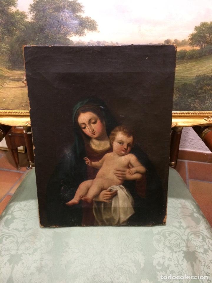 VIRGEN CON NIÑO OLEO SOBRE LIENZO (Arte - Pintura - Pintura al Óleo Antigua siglo XVIII)