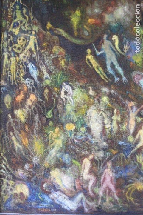Arte: Cuadro surrealista, mundo onírico, personajes fantásticos, pintura al óleo, firmado, con marco. - Foto 2 - 177505354