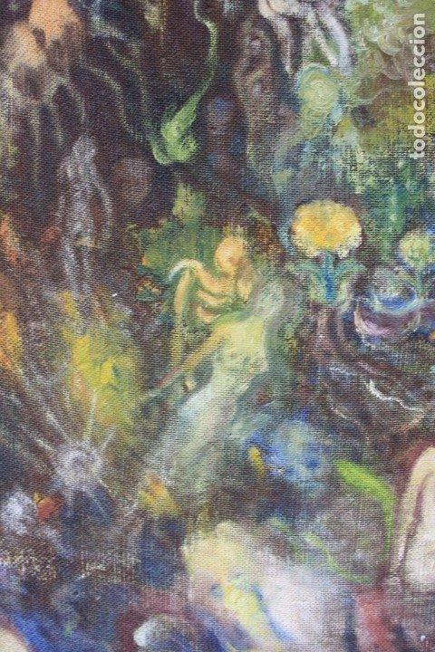 Arte: Cuadro surrealista, mundo onírico, personajes fantásticos, pintura al óleo, firmado, con marco. - Foto 3 - 177505354