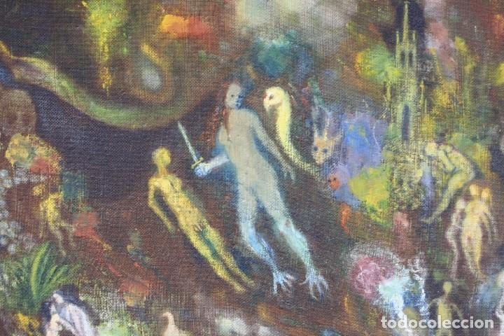 Arte: Cuadro surrealista, mundo onírico, personajes fantásticos, pintura al óleo, firmado, con marco. - Foto 4 - 177505354