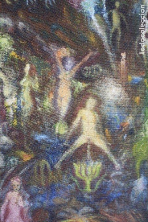 Arte: Cuadro surrealista, mundo onírico, personajes fantásticos, pintura al óleo, firmado, con marco. - Foto 6 - 177505354