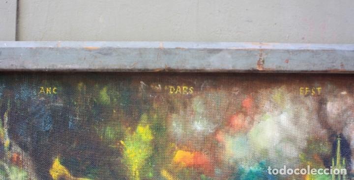 Arte: Cuadro surrealista, mundo onírico, personajes fantásticos, pintura al óleo, firmado, con marco. - Foto 7 - 177505354