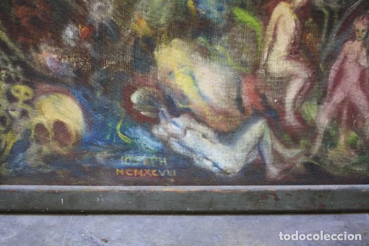 Arte: Cuadro surrealista, mundo onírico, personajes fantásticos, pintura al óleo, firmado, con marco. - Foto 8 - 177505354