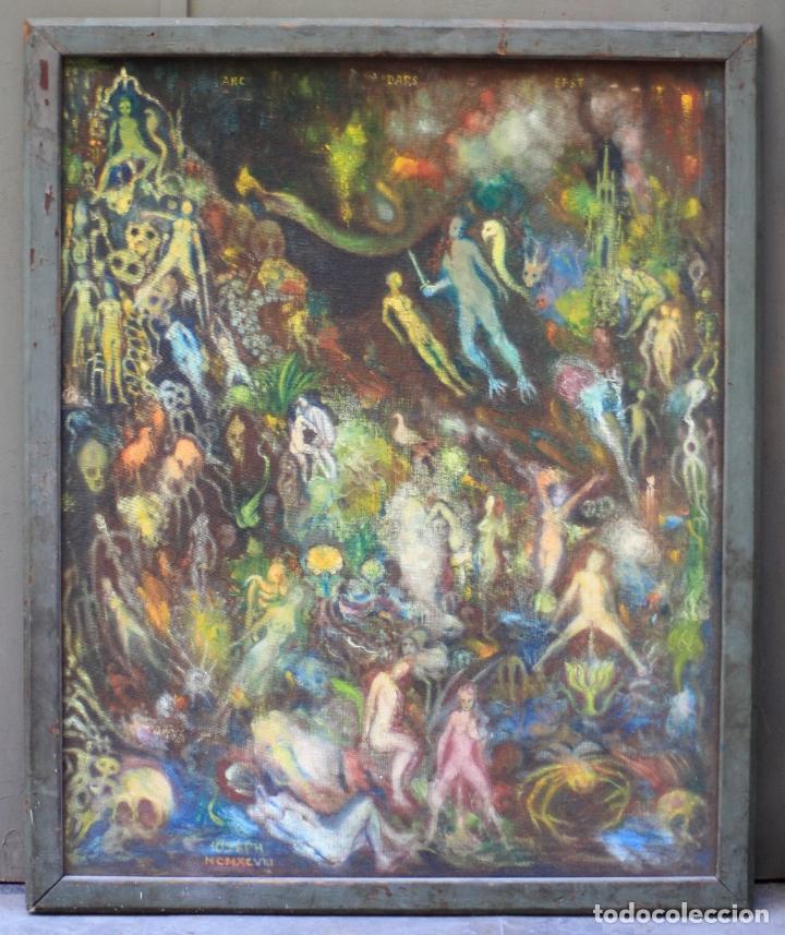 CUADRO SURREALISTA, MUNDO ONÍRICO, PERSONAJES FANTÁSTICOS, PINTURA AL ÓLEO, FIRMADO, CON MARCO. (Arte - Pintura - Pintura al Óleo Contemporánea )