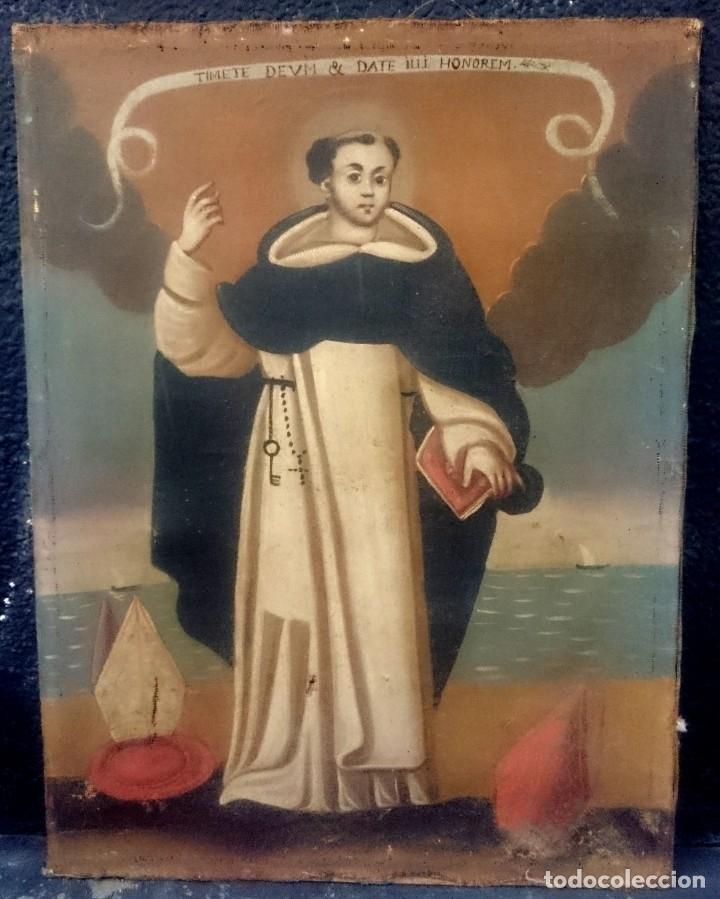 Arte: Antiguo óleo sobre lienzo de Santo Domingo de Guzmán. Siglo XVII. Bastidor original. 87x67 - Foto 2 - 177521038