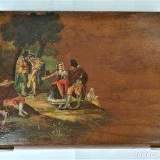 Arte: CAJA-JOYERO,FINALES XIX,CON LA IMAGEN DE LA PINTURA DE FRANCISCO DE GOYA,LA MAJA Y LOS EMBOZADOS. Lote 177589752
