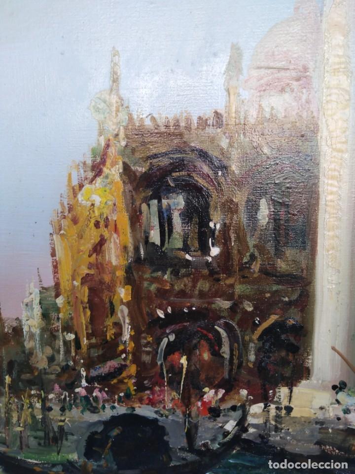 Arte: Vista de Venecia.Plaza de San marcos. óleo sobre tela. Siglo xix 50x60ctms - Foto 2 - 177712447