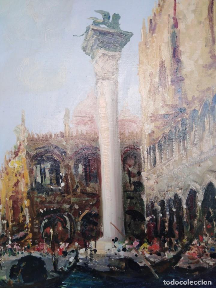 Arte: Vista de Venecia.Plaza de San marcos. óleo sobre tela. Siglo xix 50x60ctms - Foto 6 - 177712447