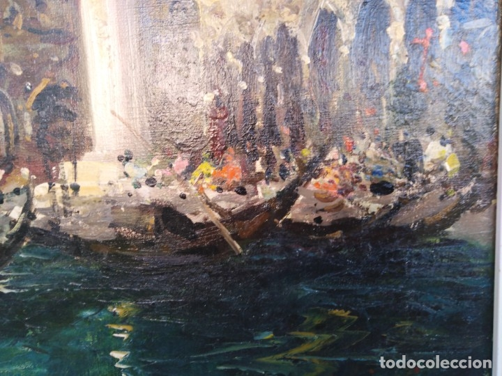 Arte: Vista de Venecia.Plaza de San marcos. óleo sobre tela. Siglo xix 50x60ctms - Foto 7 - 177712447