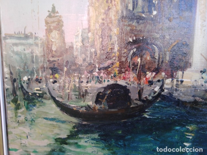 Arte: Vista de Venecia.Plaza de San marcos. óleo sobre tela. Siglo xix 50x60ctms - Foto 8 - 177712447