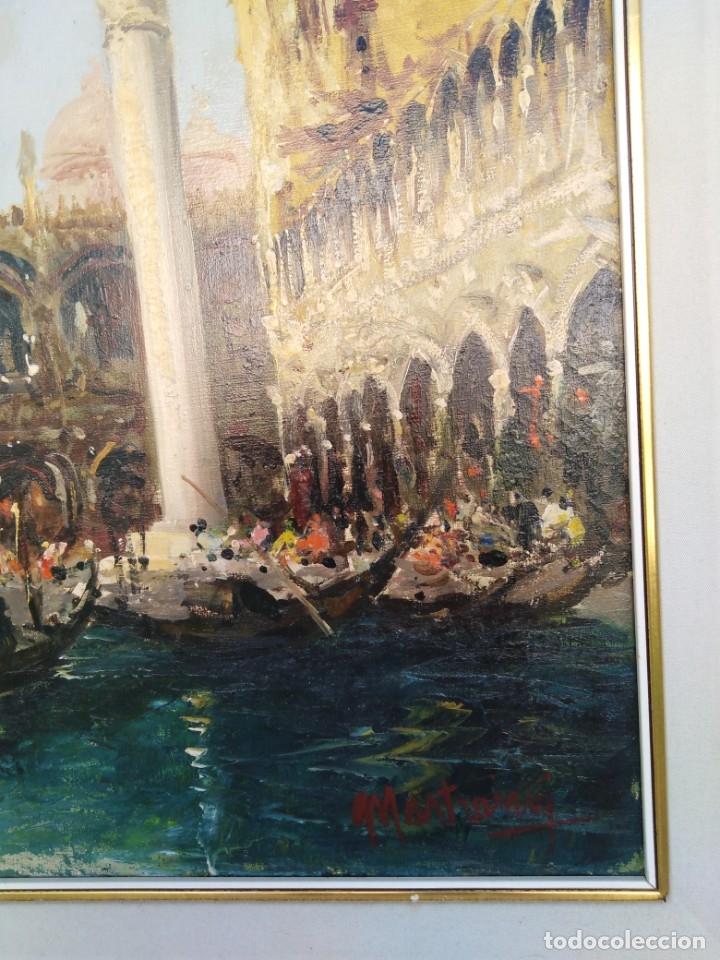 Arte: Vista de Venecia.Plaza de San marcos. óleo sobre tela. Siglo xix 50x60ctms - Foto 9 - 177712447