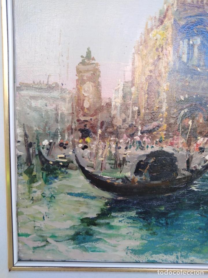 Arte: Vista de Venecia.Plaza de San marcos. óleo sobre tela. Siglo xix 50x60ctms - Foto 11 - 177712447