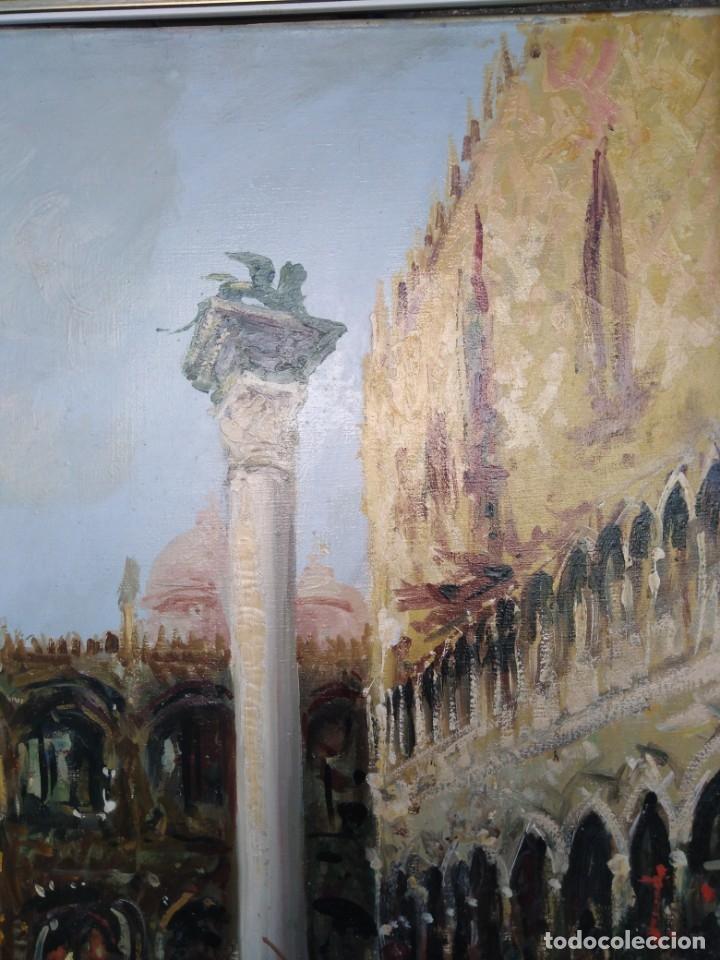 Arte: Vista de Venecia.Plaza de San marcos. óleo sobre tela. Siglo xix 50x60ctms - Foto 14 - 177712447
