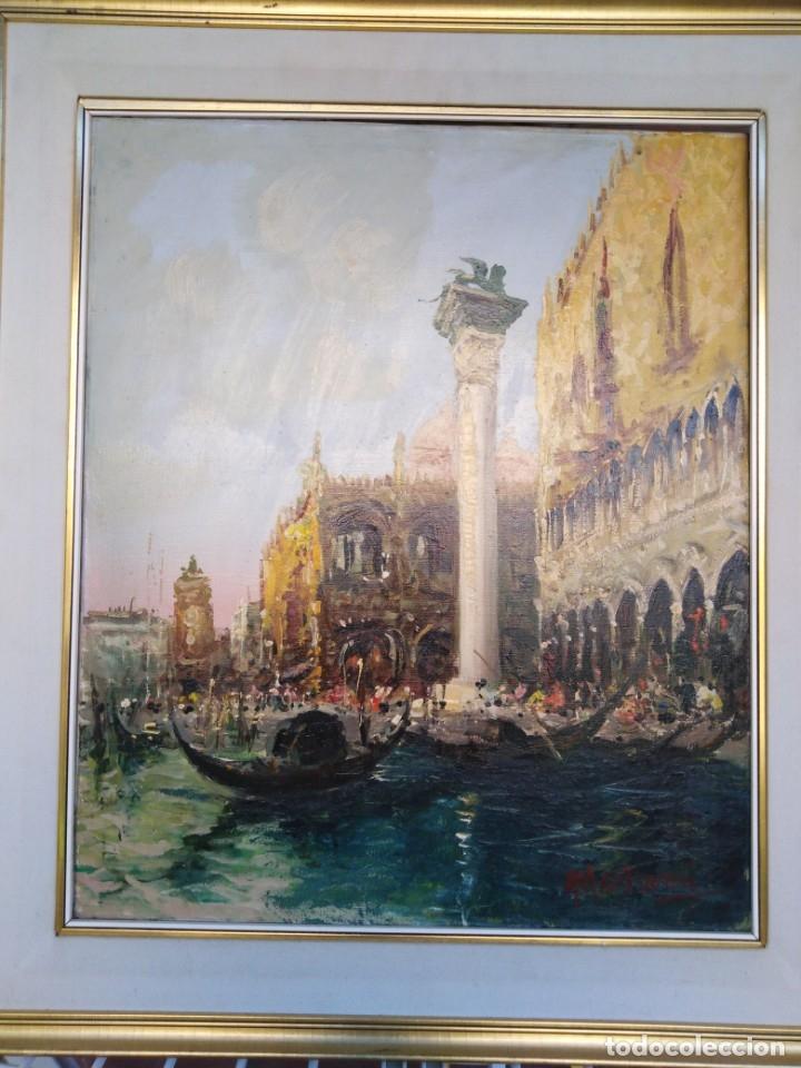 Arte: Vista de Venecia.Plaza de San marcos. óleo sobre tela. Siglo xix 50x60ctms - Foto 17 - 177712447