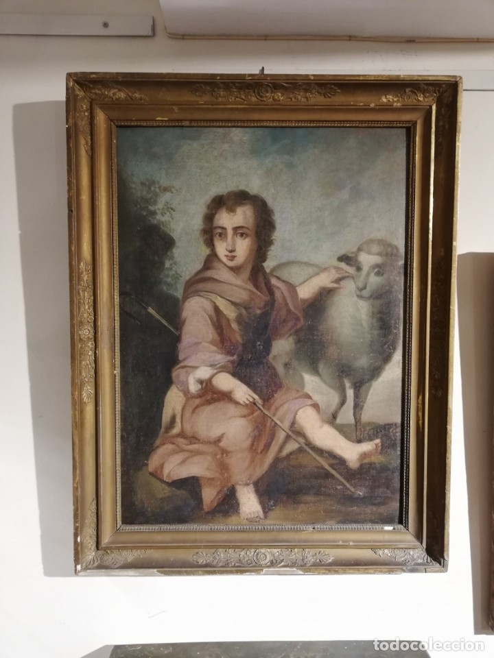 OLEO SIGLO XVII SAN JUANITO (Arte - Pintura - Pintura al Óleo Antigua siglo XVII)