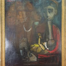 Arte: PAREJA CON BEBÉ. ÓLEO SOBRE LIENZO. FIRMADO ANDREU. 1956.. Lote 177763094