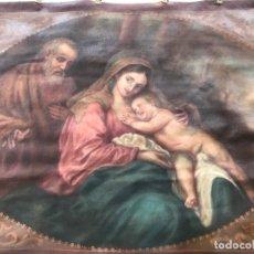 Arte: ESCENA BIBLICA. TAPIZ PINTADO AL ÓLEO. PRINCIPIOS SIGLO XX. LA SAGRADA FAMILIA. . Lote 177764252