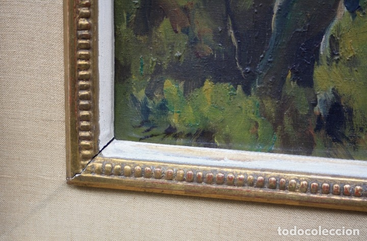 Arte: Alfred Sisquella (1900 - 1964), paisaje, pintura al óleo sobre tela, con marco. 45x37cm - Foto 3 - 177774402