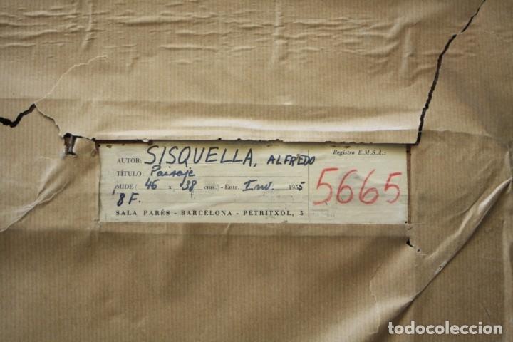 Arte: Alfred Sisquella (1900 - 1964), paisaje, pintura al óleo sobre tela, con marco. 45x37cm - Foto 5 - 177774402