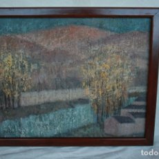 Arte: CONCHA IBAÑEZ ESCOBAR, (CANET DE MAR, BARCELONA, 1926)ESTUPENDO PAISAJE DE SORIA .OLEO SOBRE TELA.. Lote 177827335