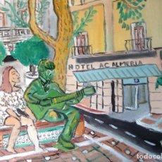 Arte: ALMERÍA.-LA ESTATUA DE JHON LENON EN LA PLAZA FLORES, ÓLEO SOBRE LIENZO EN BASTIDOR 40X50 CM. CRESPO. Lote 177850447