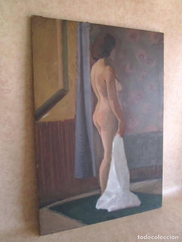 Arte: cuadro oleo mujer posando raul greus valencia 109 cm x 75 cm firmado en tela de saco - Foto 3 - 40452237