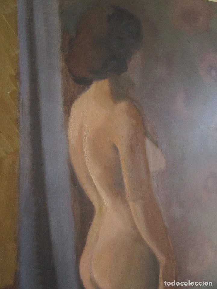 Arte: cuadro oleo mujer posando raul greus valencia 109 cm x 75 cm firmado en tela de saco - Foto 5 - 40452237