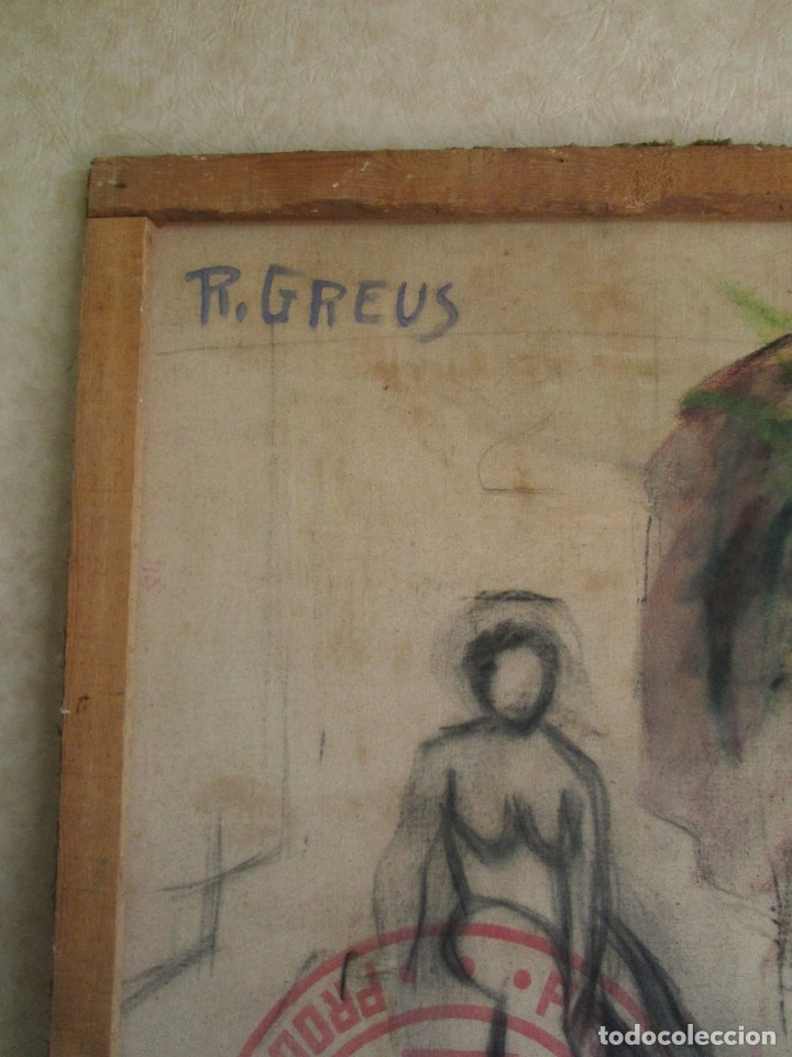 Arte: cuadro oleo mujer posando raul greus valencia 109 cm x 75 cm firmado en tela de saco - Foto 10 - 40452237