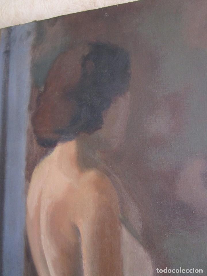 Arte: cuadro oleo mujer posando raul greus valencia 109 cm x 75 cm firmado en tela de saco - Foto 6 - 40452237