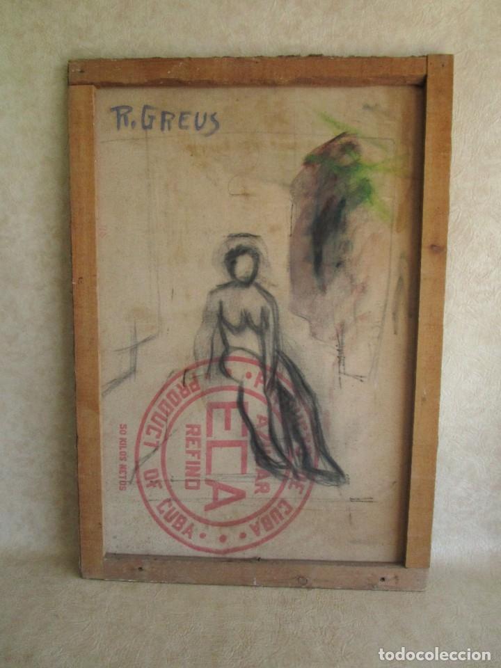 Arte: cuadro oleo mujer posando raul greus valencia 109 cm x 75 cm firmado en tela de saco - Foto 9 - 40452237