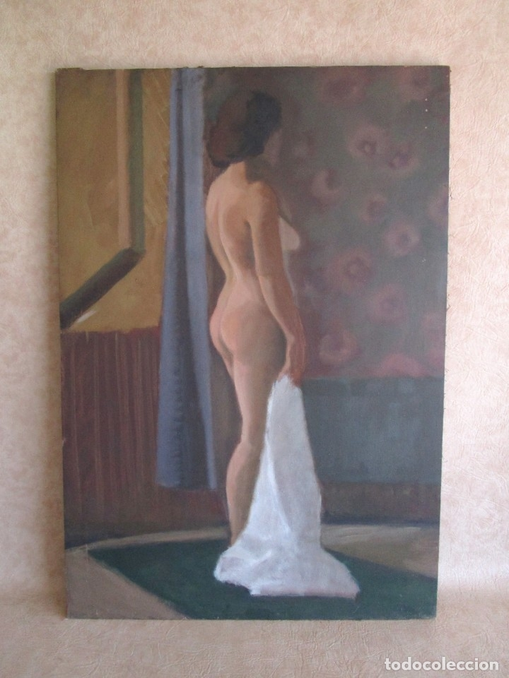 CUADRO OLEO MUJER POSANDO RAUL GREUS VALENCIA 109 CM X 75 CM FIRMADO EN TELA DE SACO (Arte - Pintura - Pintura al Óleo Contemporánea )