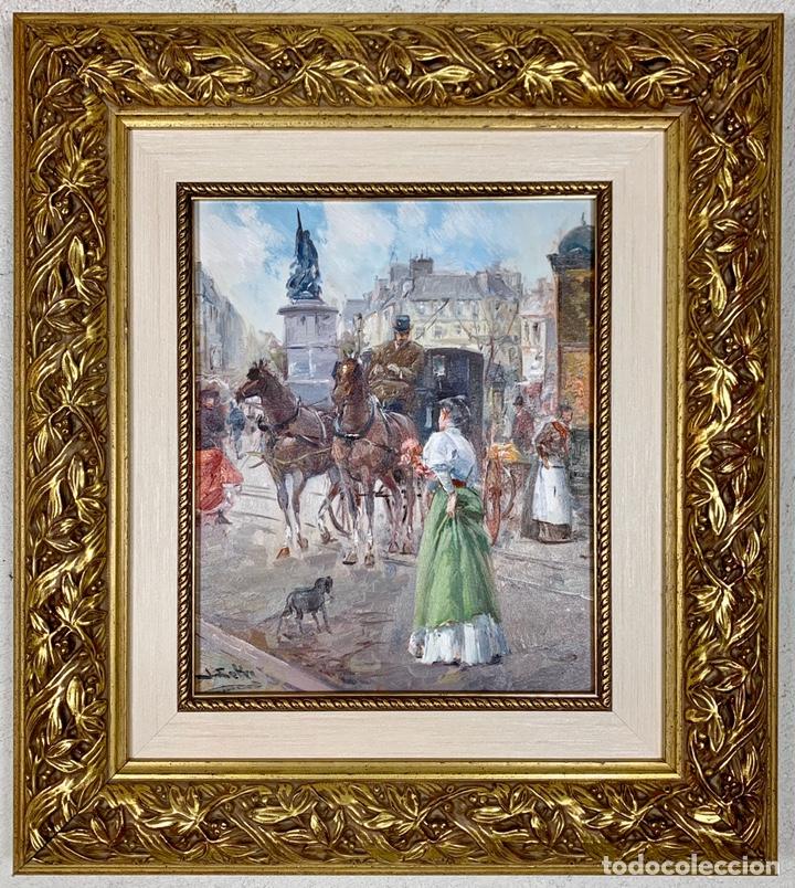 ÓLEO SOBRE LIENZO JUAN SOLER - CON MARCO - ESCENA PARISINA (Arte - Pintura - Pintura al Óleo Contemporánea )