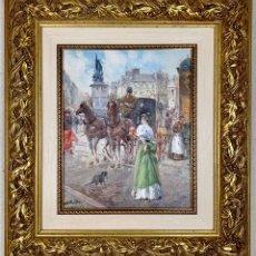 Arte: ÓLEO SOBRE LIENZO JUAN SOLER - CON MARCO - ESCENA PARISINA. Lote 177885245