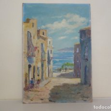 Arte: OLEO ESCENA RURAL CALLE PLAYA FIRMADO E.BENEYTO.. Lote 177889360