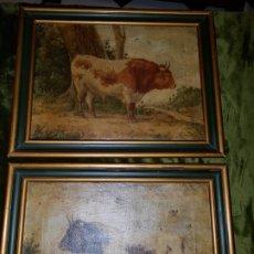 Arte: PAREJA DE CUADROS. OLEO SOBRE LIENZO. SIGLO XIX . Lote 177934524