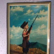 Arte: CUADRO( NIÑO CAZADOR, AÑO 1959 FIRMADO GARCÍA, OLEO EN LIENZO ). VER FOTOGRAFÍAS.. Lote 177935027