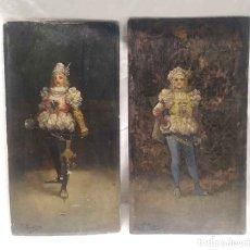 Arte: ESCUELA ESPADACHINES ADOLESCENTES ÓLEO SOBRE MADERA S XIX, FIRMADOS.. Lote 177940065