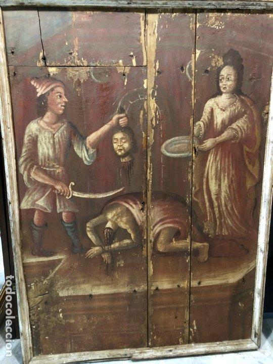 IMPRESIONANTE MARTIRIO SAN JUAN BAUTISTA, TABLA, S. XVI, ESC CASTELLANA (Arte - Pintura - Pintura al Óleo Antigua siglo XVI)