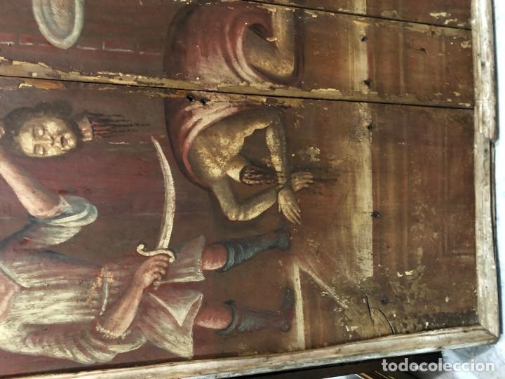 Arte: IMPRESIONANTE MARTIRIO SAN JUAN BAUTISTA, TABLA, S. XVI, ESC CASTELLANA - Foto 5 - 178060448