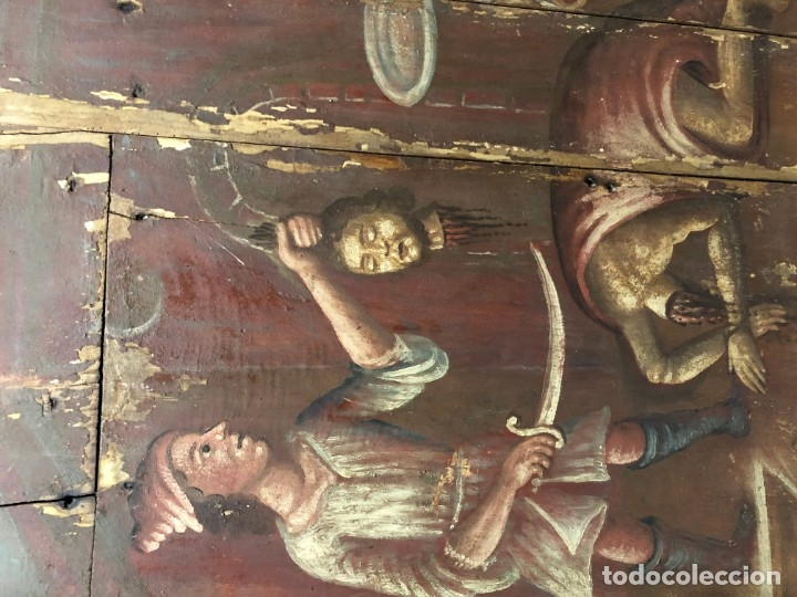 Arte: IMPRESIONANTE MARTIRIO SAN JUAN BAUTISTA, TABLA, S. XVI, ESC CASTELLANA - Foto 6 - 178060448