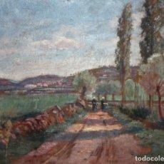 Arte: IVO PASCUAL RODÉS (VILANOVA I LA GELTRÚ, 1883 - RIUDARENES, 1949) OLEO CARTON. PAISAJE CON FIGURAS. Lote 178132893