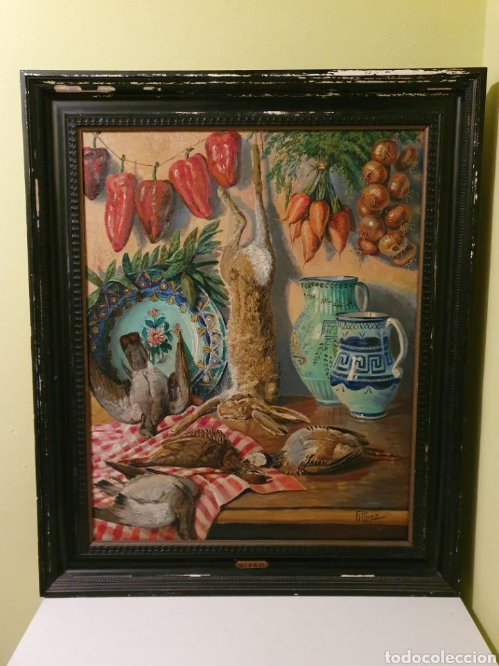 GRAN BODEGON DE NATURALEZA MUERTA 97CM DE ALTO FIRMADO POR SU AUTOR FAUSTO ANTONIO MOYA (Arte - Pintura - Pintura al Óleo Antigua sin fecha definida)